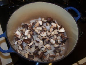 Mushrooms and onions browning.