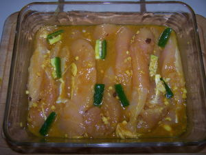 Chicken Tenders in Marinade.