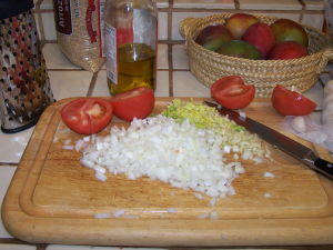 Chopped Onions, Tomatoes and Chopped Celery