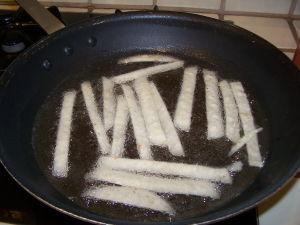 Tortilla Strips Frying.
