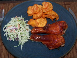 Oven BBQ Chicken Drumsticks with Slaw & Sweet Potato Chips
