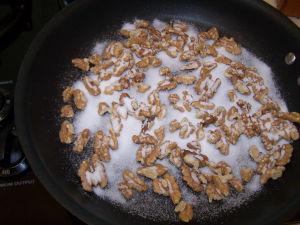 Walnuts & Sugar in Skillet