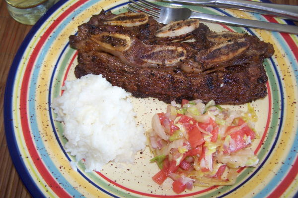 BBQ Beef Ribs with Arroz con Queso & Salad