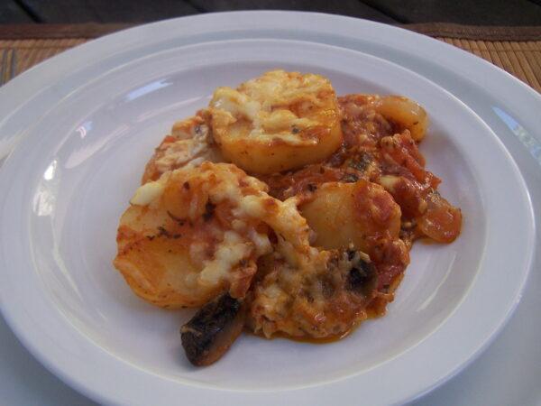 Potato, Onion & Tomato Casserole