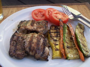 Grilled Chicken Thighs with Grilled Veggies