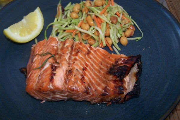 Maple Rosemary Glazed Grilled Salmon
