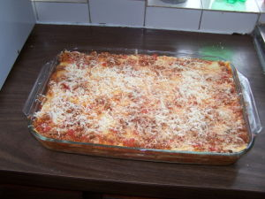 Sausage & Meat Lasagna Ready for the Oven