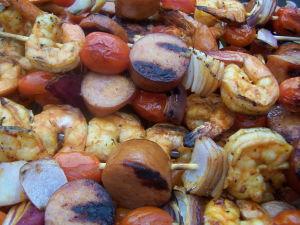 Grilling Shrimp & Sausage