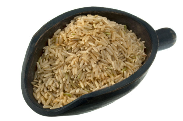 scoop of long grain brown rice
