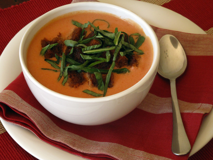 Cream of Tomato Soup with Basil - The Frugal Chef