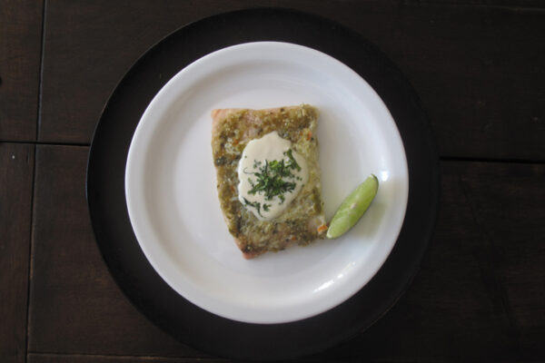 Fish tomatillo salsa