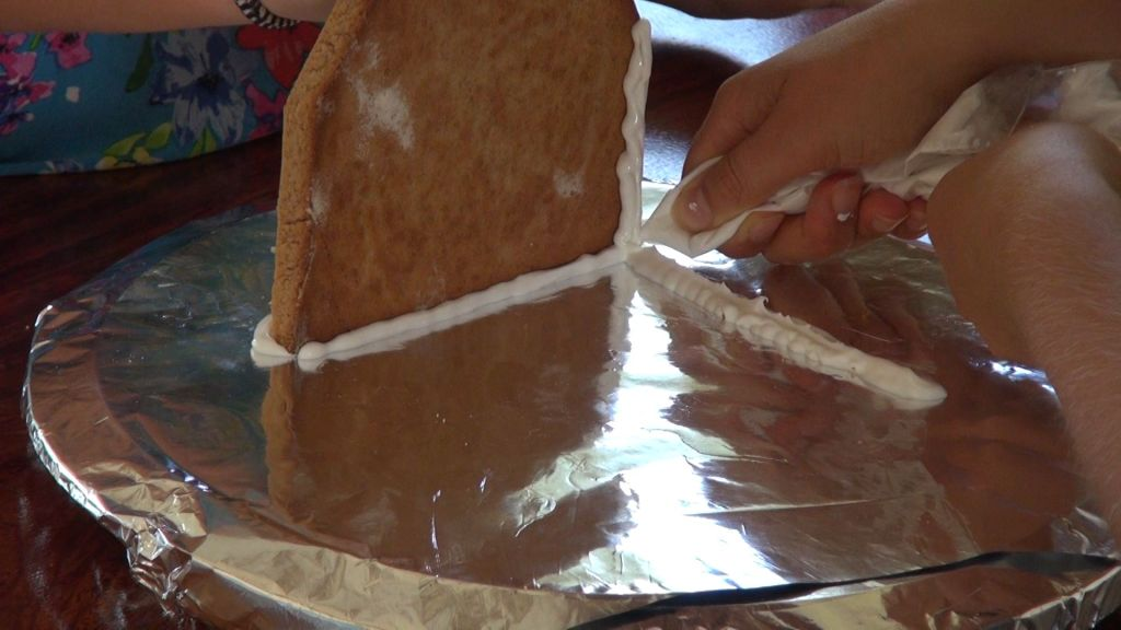 Ginger Bread House - Gluing first side wall