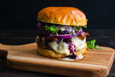 Grilled Burgers with Red Onion