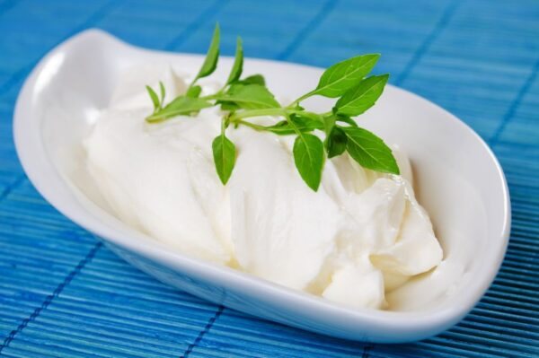Sour cream with basil