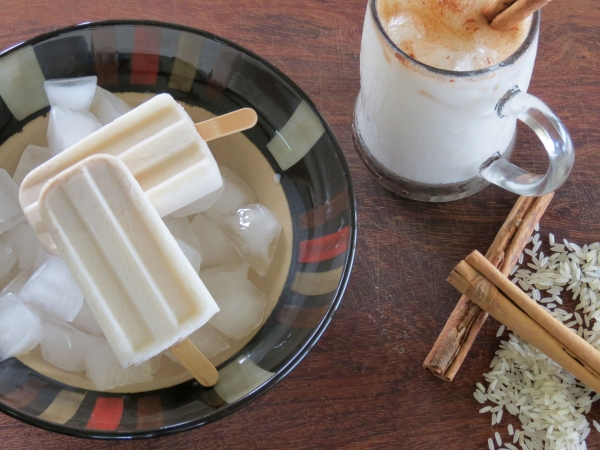 Horchata pops and drink