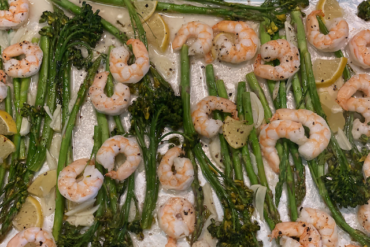 Baked Shrimp with Asparagus and Broccolini