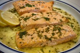 Air Fryer Salmon with Garlic Butter Sauce