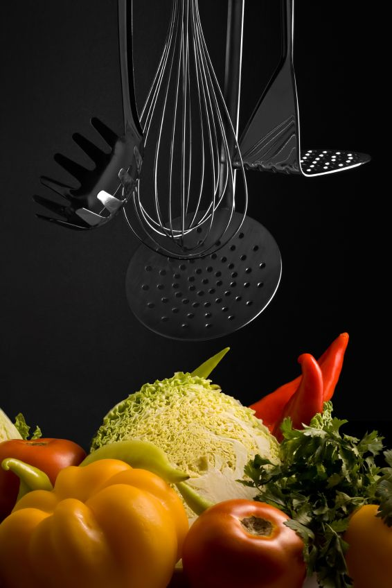 cucine tools with vegetables