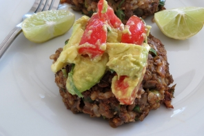 Lentil Patties with Brown Rice