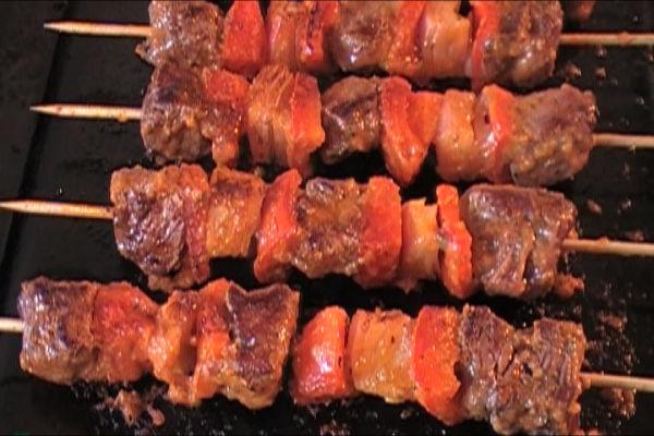 Pan Fried Beef Skewers
