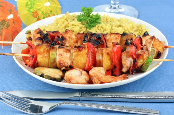 Shrimp, Pineapple and Chicken Kebabs