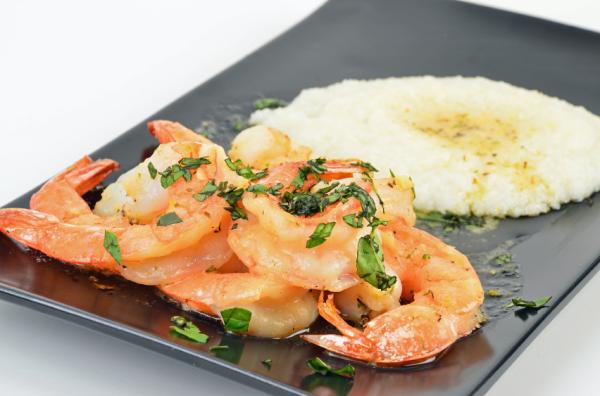 Shrimp Scampi and Garlc Grits